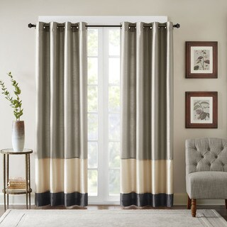 "Bombay Conner Pieced Polyoni Curtain Panel 50x95"" in Pewter(As Is Item)"