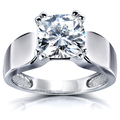 Solitaire Women's, White, Round Moissanite Rings