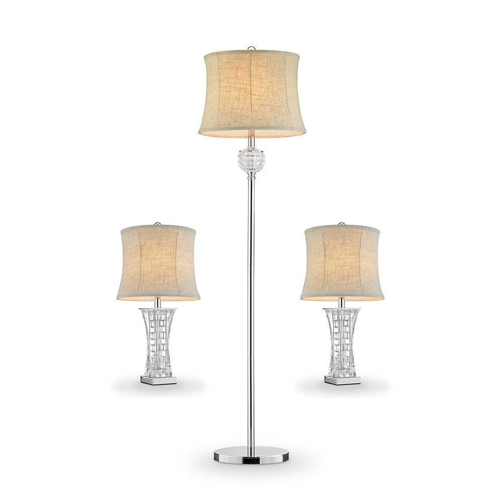 """ORE 26.5"""" Lunette Glass Table Lamps + Floor Lamp Set Of 3..."""