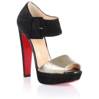 Christian Louboutin Haute Retenue Black Gold Platform Sandal