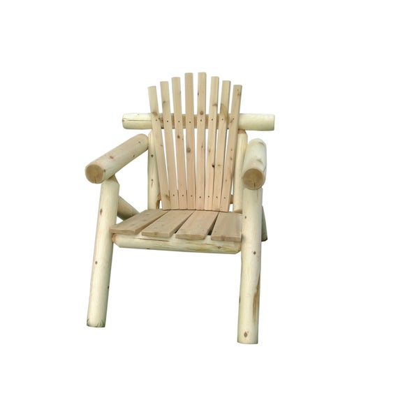 Charming Rustic Outdoor White Cedar Log Adirondack Chair  Amish
