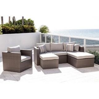 Atlantic 4Piece Wicker Sectional with SUNBRELLA Grey Cushions
