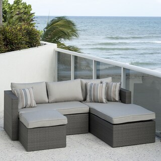 Atlantic 3-Piece Wicker Sectional Set with SUNBRELLA Grey Cushions