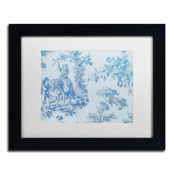 Color Bakery 'Toile Fabrics V' Matted Framed Art - Blue