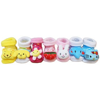 Non-Slip Infant/Toddler Cotton Slipper Socks (Pack of 7)