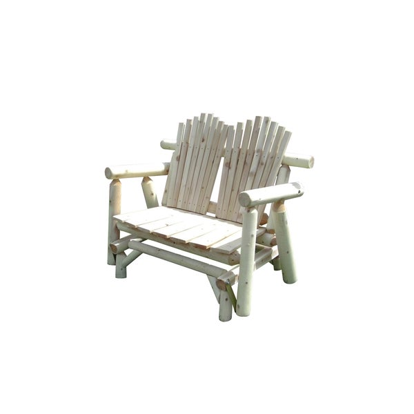 Rustic White Cedar Log Adirondack Glider Love Seat   Amish Made In The USA
