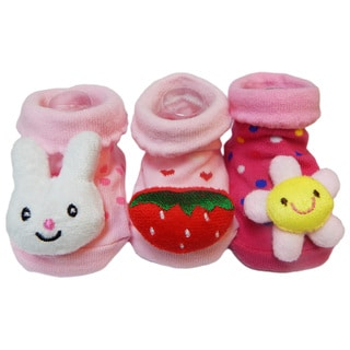 Non-Slip Infant/Toddler Cotton Slipper Socks (Pack of 3)