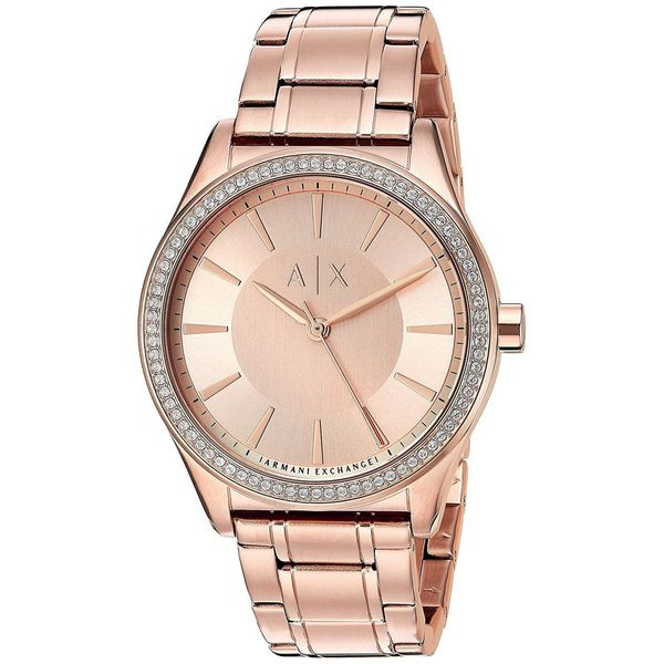 Armani Exchange Women's 'Dress' Crystal Rose-Tone Stainless Steel Watch