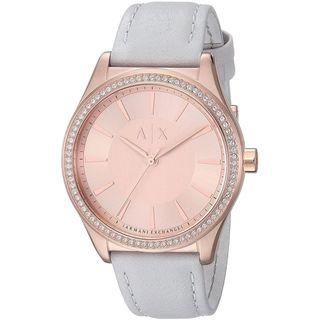 Armani Exchange Women's AX5444 'Dress' Crystal Grey Leather Watch