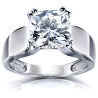 Annello by Kobelli 14k White Gold 2 3/4ct Cushion Moissanite Solitaire Wide Rounded Band Taper Engagement Ring