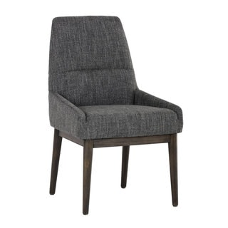 Lucas Distressed Walnut Marbled Grey Upholstered Dining Chair