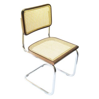 Breuer Chair Company Cesca Cane Dining Chair in Chrome and Walnut