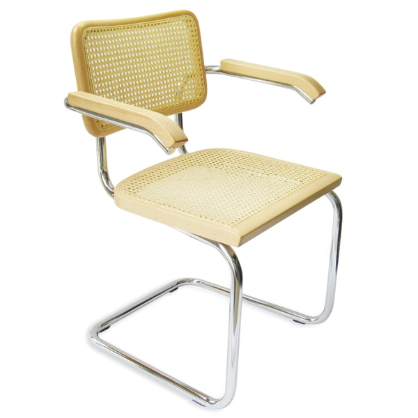 Breuer Chair Company Cesca Cane Arm Chair In Chrome And Natural
