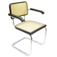 Breuer Chair Company Cesca Cane Arm Chair in Chrome and Black