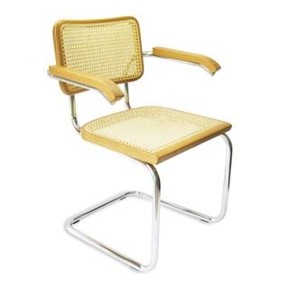 Breuer Chair Company Cesca Cane Arm Chair in Chrome and Honey Oak