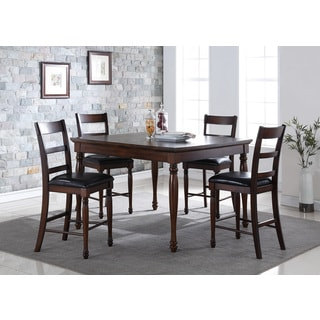 LYKE Home Distressed Chestnut 54-Inch Counter Height 5-Piece Dining Set