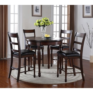LYKE Home Chestnut Brown Round Pub Height 5-Piece Dining Set