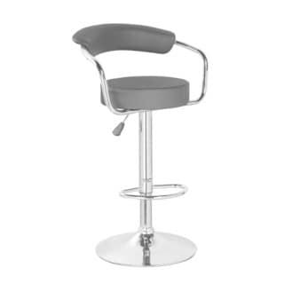 Height Adjustable PU Bar Stool with Metal Chrome Armrest,