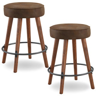 Rustic Round Faux Leather Counter Height Swivel Stool (Set of 2)