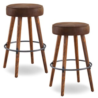 KD Furnishings Rustic Faux Leather Bar Height Round Swivel Stools (Set of 2)