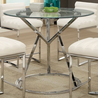 Furniture of America Casey Contemporary Glass Top Chrome Round Counter Height Table
