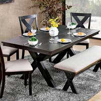 Furniture of America Dasni Transitional X-base Brushed Black Dining Table