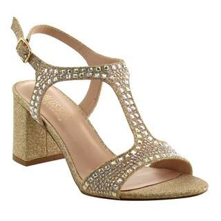 De Blossom Collection Women's FI67 Chunky Heel Slingback Sparking Dress Sandals