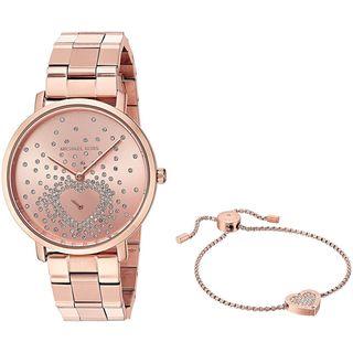 Michael Kors Women's MK3621 'Jaryn' Heart Bracelet Gift Set Crystal Rose-Tone Stainless Steel Watch