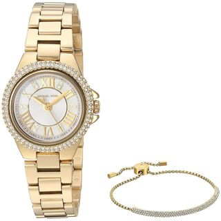 Michael Kors Women's MK3653 'Petite Camille' Heart Bracelet Gift Set Crystal Gold-Tone Stainless Steel Watch