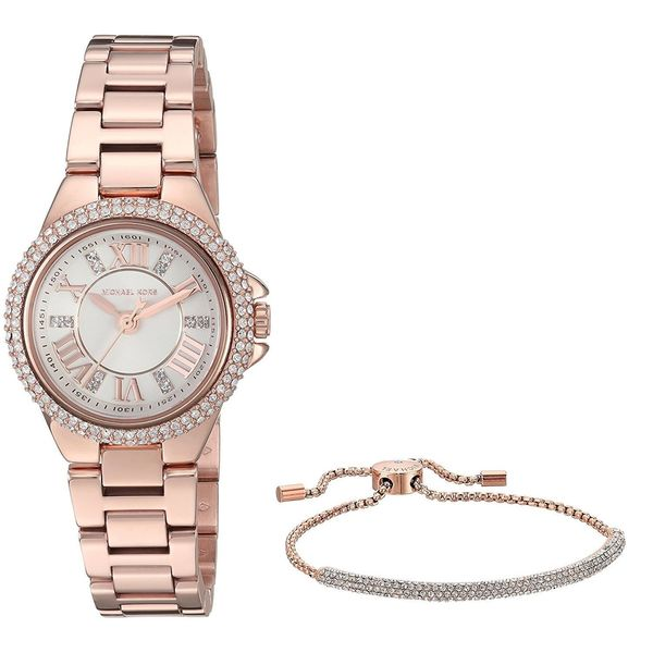 Michael Kors Women's MK3654 'Petite Camille' Heart Bracelet Gift Set Crystal Rose-Tone Stainless Steel Watch