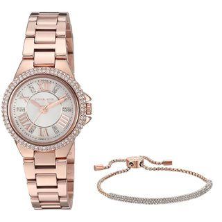 Michael Kors Women's MK3654 'Petite Camille' Heart Bracelet Gift Set Crystal Rose-Tone Stainless Steel Watch