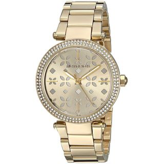 Michael Kors Women's MK6469 'Mini Parker' Floral Cutout Crystal Gold-Tone Stainless Steel Watch