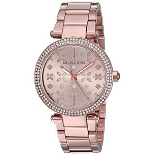 Michael Kors Women's MK6470 'Mini Parker' Floral Cutout Crystal Rose-Tone Stainless Steel Watch