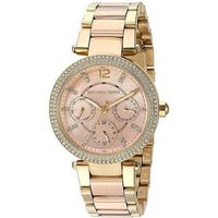Michael Kors Women's MK6477 'Mini Parker' Multi-Function Crystal Two-Tone Stainless Steel Watch