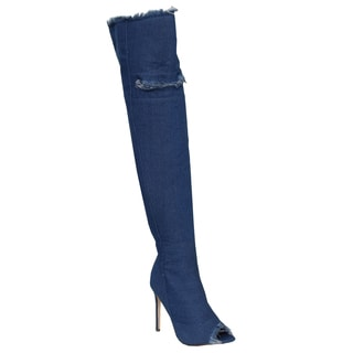 Liliana Women's AF50 Blue Denim Peep Toe Stiletto Over-the-knee High Heel Boots