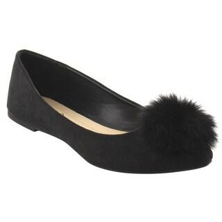 Refresh Women's IE85 Pom-pom Point Toe Slip-on Ballet Flats