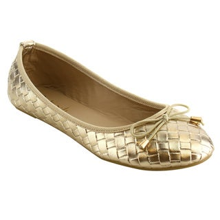Refresh IE87 Women's Bow Weaved Print Ballet Flats