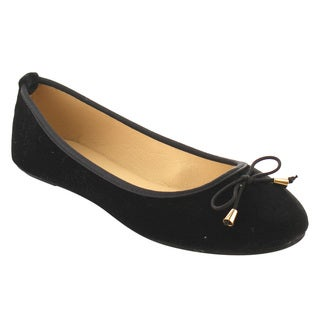 Refresh IE88 Women's Velvet Slide In Bow Ballet Flats