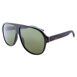 Gucci GG 0009S 001 Unisex Black Plastic Aviator Sunglasses