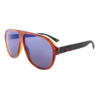 Gucci GG 0009S 002 Havana Plastic Aviator Sunglasses with Blue Mirror Lenses
