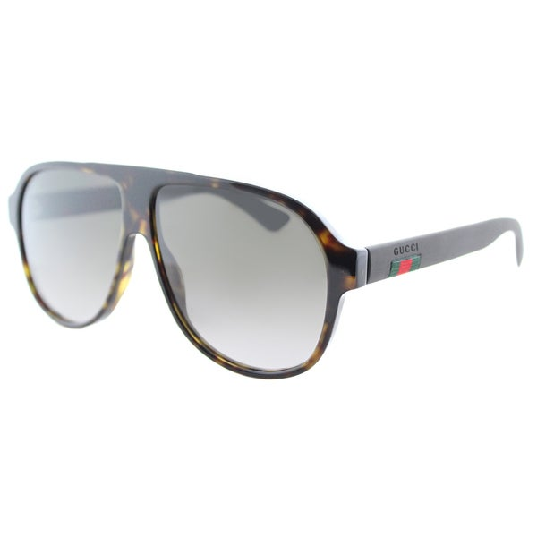 dd661fe3f2 Gucci GG 0009S 003 Dark Havana Brown Gradient Lens Plastic Aviator  Sunglasses