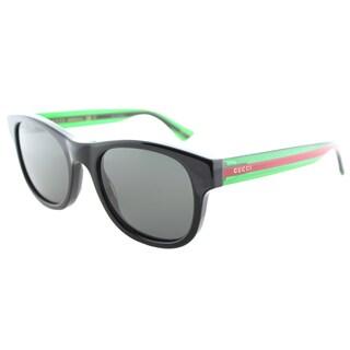 Gucci Unisex GG 0003S 006 Black Plastic Square Sunglasses with Grey Lenses