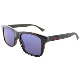 Gucci Dark Havana Plastic Blue Mirror Lens Square Sunglasses