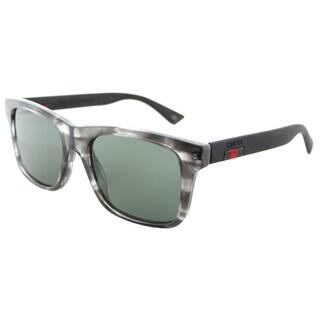 Gucci Grey Striped Plastic Green Lens Square Sunglasses
