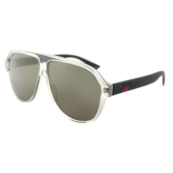 88fcef5591 Gucci Unisex GG 0009S 005 Crystal Plastic Aviator Sunglasses with Grey  Mirror Lenses