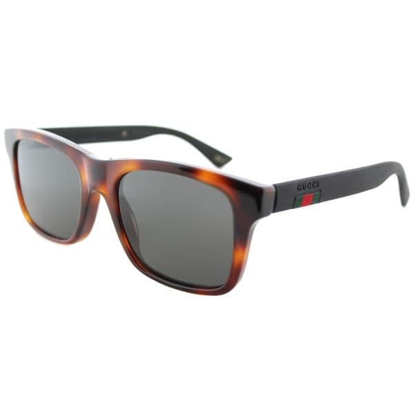 4f0d06d5090 Gucci GG 0008S 006 Grey Polarized Lens Havana Plastic Square Sunglasses
