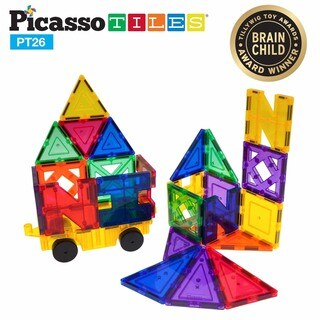 PicassoTiles Magnetic Building Block Set with Car - 26pc