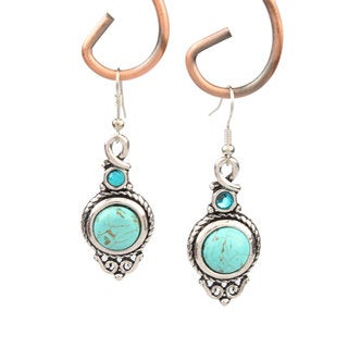 Charming Round Turquoise Dangle Earrings
