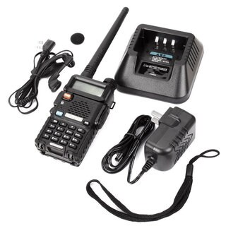 Baofeng Black 1.5-inch LCD 5-watt 136-174MHz/400-470MHz Dual Band Walkie Talkie With 1-LED Flashlight