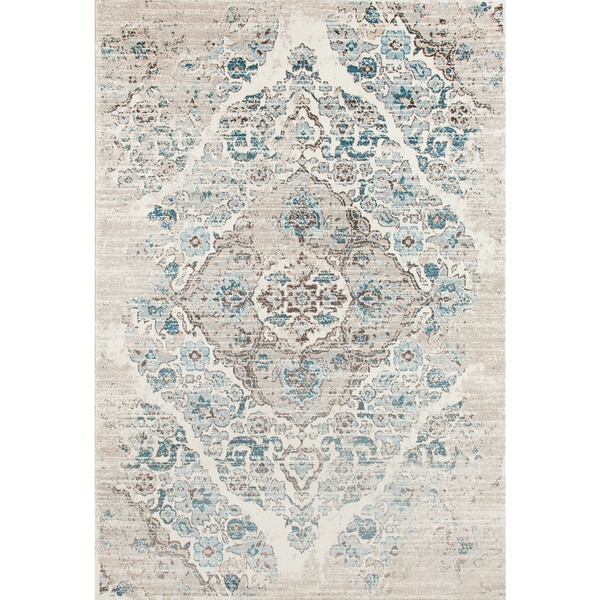 Shop Persian Rugs Blue Cream Area Rug 8 7 X 12 6 On